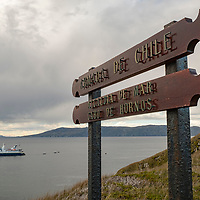 The National Geographic Orion ship anchored at Cape Horn in Chile. Cape Horn (Cabo de Hornos) is the southernmost headland of the Tierra del Fuego archipelago and it marks the northern boundary of the Drake Passage and where the Atlantic and Pacific Oceans meet.