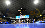General overall view as Pepperdine Waves outside hitter Kaleb Denmark (10) serves the ball against the Princeton Tigers during an NCAA Championships opening round match, Wednesday, April 30, 2019, in Long Beach, Calif. Pepperdine defeated Princeton 25-23, 19-25, 25-16, 22-25, 15-8.
