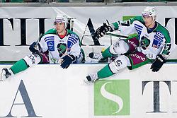 Domen Vedlin (HDD Tilia Olimpija, #17) and Ziga Pavlin (HDD Tilia Olimpija, #17) during ice-hockey match between HDD Tilia Olimpija and EHC Liwest Black Wings Linz in 19th Round of EBEL league, on November 7, 2010 at Hala Tivoli, Ljubljana, Slovenia. (Photo By Matic Klansek Velej / Sportida.com)