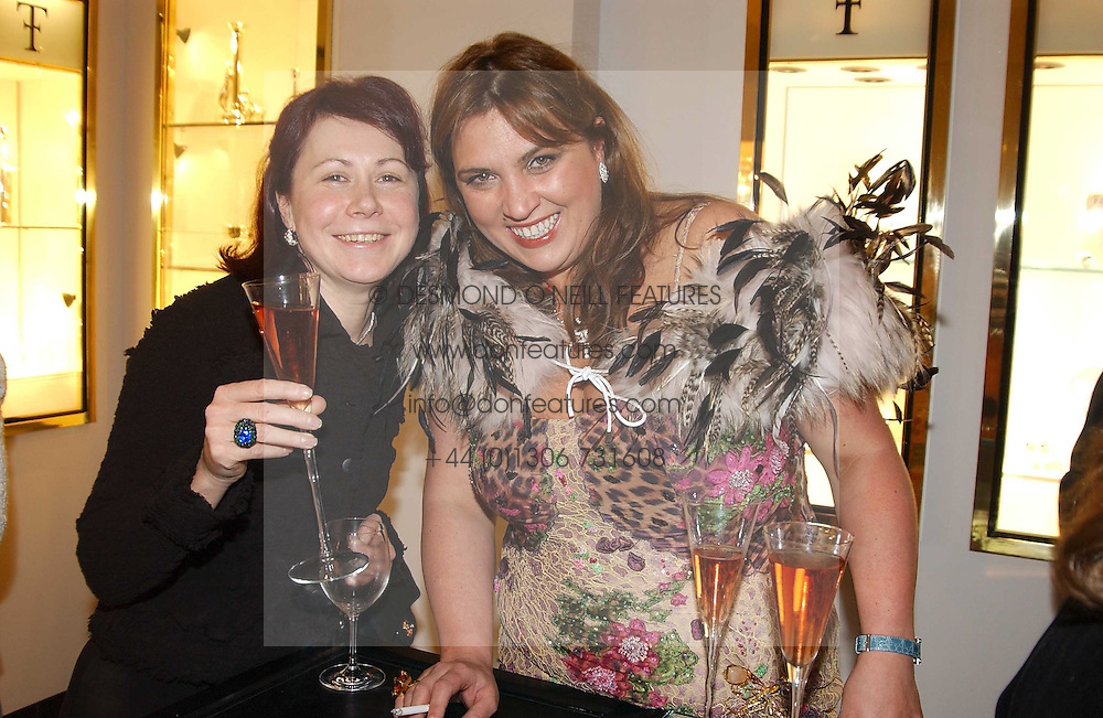 Left to right, NATALIA MATUZNY and NATA GALOGRE at a party to celebrate the International Women's Day in association with Theo Fennell and The Russian Connection held at Theo Fennell, 169 Fulham Road, London SW3 on 1st March 2005.<br />