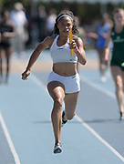 Apr 14, 2018; Los Angeles, CA, USA; Allyson Felix runs in the women's 4 x 100m relay during the Rafer Johnson/Jackie joyner-Kersee Invitational at Drake Stadium.