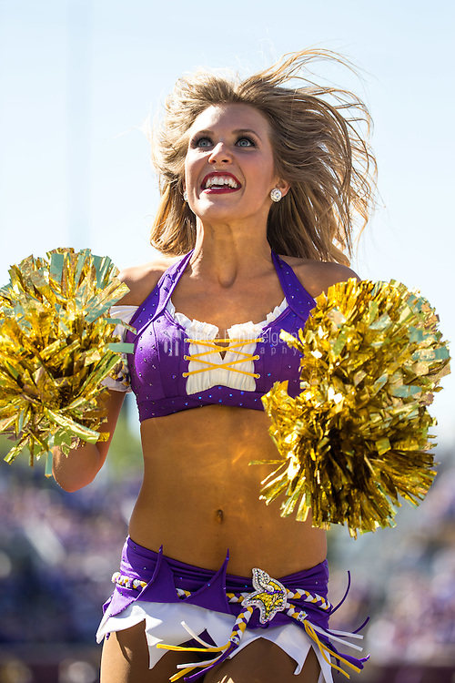 Sep 27, 2015; Minneapolis, MN, USA; A Minnesota Vikings cheerleader performs against the San Diego Chargers at TCF Bank Stadium. The Vikings defeated the Chargers 31-14. Mandatory Credit: Brace Hemmelgarn-USA TODAY Sports