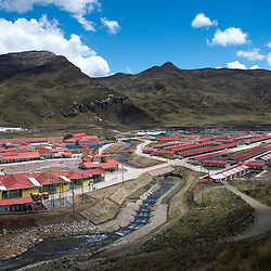 View of the new Morococha, a new town in the central Peruvian Andes built by Chinese mining company Chinalco. The company built this town to relocate the residents of Morococha, where they will build the Toromocho Project. Chinalco claims that this is the first time in Peru that a town was planned before being built.