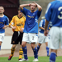 St Johnstone v Alloa Athletic..30.07.05  Bell's Cup<br />Ryan Stevenson reacts to a bad miss.<br /><br />Picture by Graeme Hart.<br />Copyright Perthshire Picture Agency<br />Tel: 01738 623350  Mobile: 07990 594431