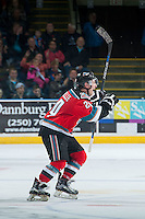 KELOWNA, CANADA - NOVEMBER 11: Tyson Baillie #24 of Kelowna Rockets celebrates a goal after a review of play against the Vancouver Giants on November 11, 2015 at Prospera Place in Kelowna, British Columbia, Canada.  (Photo by Marissa Baecker/ShoottheBreeze)  *** Local Caption *** Tyson Baillie;