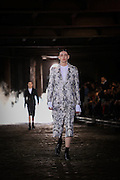 Models walk the catwalk  at Alexander McQueen in London for London Mens Collections  on Monday 17th June 2013.
