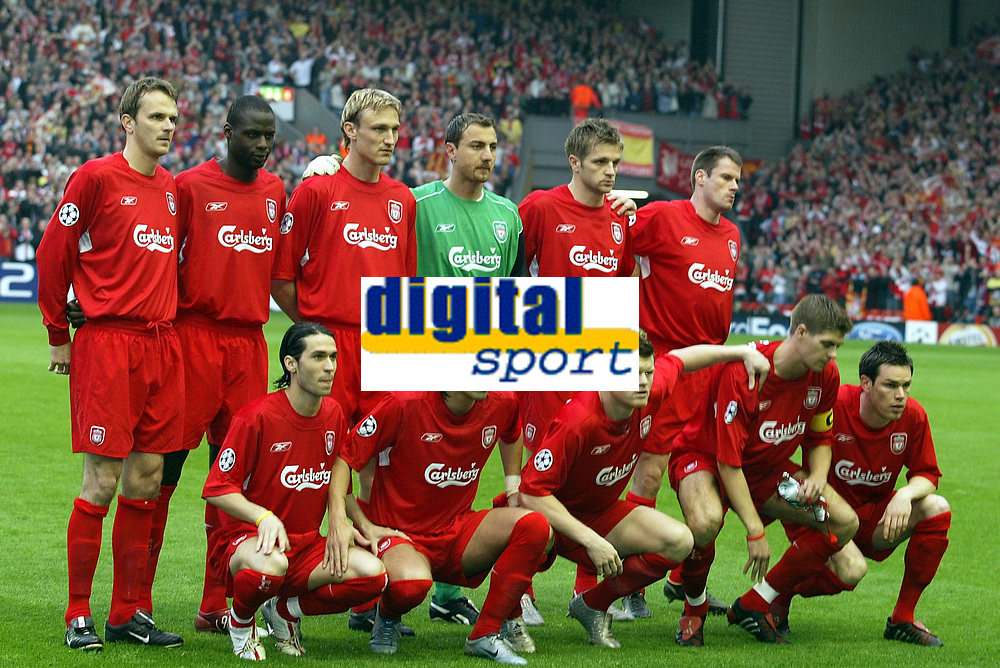 Fotball<br /> Foto: Dppi/Digitalsport<br /> NORWAY ONLY<br /> <br /> CHAMPIONS LEAGUE 2004/2005<br /> 1/2 FINAL - 2ND LEG<br /> <br /> LIVERPOOL FC v CHELSEA FC<br /> 03/05/2005<br /> <br /> LIVERPOOL TEAM ( BACK ROW LEFT TO RIGHT : DITMAR HAMANN / DJIMI TRAORE / SAMI HYYPIA / JERZY DUDEK / IGOR BISCAN / JAMIE CARRAGHER . FRONT ROW : LUIS GARCIA / MILAN BAROS / JOHN ARNE RIISE / STEVEN GERRARD / STEPHEN FINNAN )