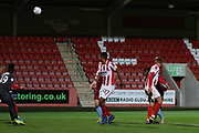 Jonte Smith loops the ball in two score a hatrick   during the leasing.com EFL Trophy match between Cheltenham Town and U21 West Ham United at Jonny Rocks Stadium, Cheltenham, England on 8 October 2019.