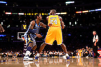 06 November 2009: Guard Kobe Bryant of the Los Angeles Lakers looks to the basket while being guarded by OJ Mayo of the Memphis Grizzles during the second half of the Lakers 114-98 victory over the Grizzles at the STAPLES Center in Los Angeles, CA.