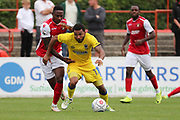 AFC Wimbledon striker Andy Barcham (17) screening the ball during the Pre-Season Friendly match between Ebbsfleet and AFC Wimbledon at Stonebridge Road, Ebsfleet, United Kingdom on 29 July 2017. Photo by Matthew Redman.