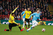 Burton Albion midfielder Matt Palmer (16) out turns Watford midfielder Etienne Capoue (29) during the The FA Cup 3rd round match between Watford and Burton Albion at Vicarage Road, Watford, England on 7 January 2017. Photo by Richard Holmes.