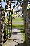 Gate from Baker/Elliot entrance looking towards fields, Pickwell Manor, Georgeham, North Devon, UK.<br /> CREDIT: Vanessa Berberian for The Wall Street Journal<br /> HOUSESHARE