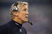 06 November 2011: Head coach Pete Carroll the Seattle Seahawks coaches against the Dallas Cowboys during the Cowboys 23-13 victory over the Seahawks at Cowboy Stadium in Arlington, TX.
