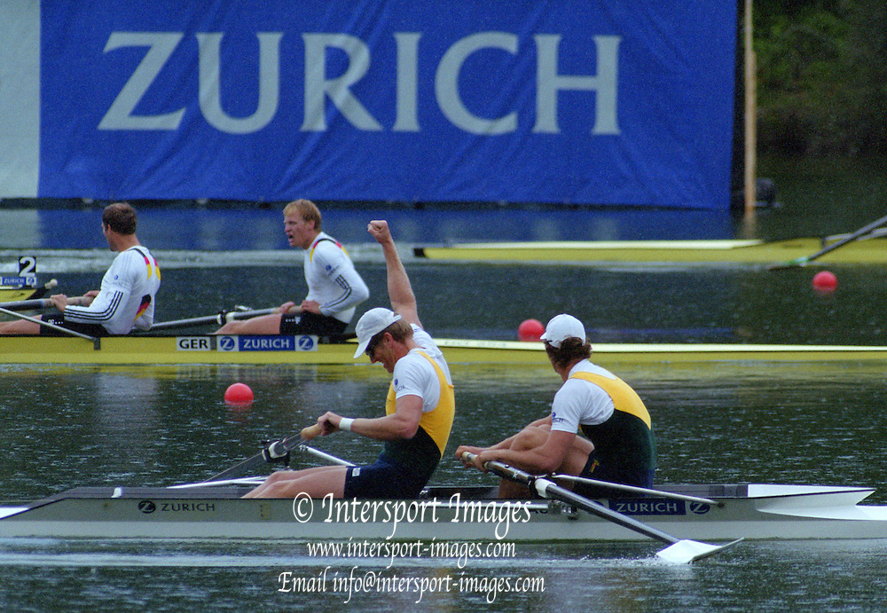 Lucerne, SWITZERLAND,  Men's Pair final. Gold. AUS1. Bow. Matthew LONG and  James TOMKINS. 2000 FISA World Cup, Rotsee Rowing Course, June 2000.  [Mandatory Credit, Peter Spurrier/Intersport-images]. 2000 FISA World Cup, Lucerne, SWITZERLAND