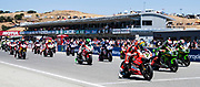 Jun 23  2018  Monterey, CA, U.S.A  SBK Racers on the starting line during the Motul FIM World Superbike Race # 1 at Weathertech Raceway Laguna Seca  Monterey, CA  Thurman James / CSM