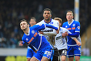 Tom Soares, Michael Rose during the Sky Bet League 1 match between Rochdale and Bury at Spotland, Rochdale, England on 12 March 2016. Photo by Daniel Youngs.