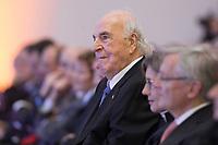 19 DEC 2014, DRESDEN/GERMANY:<br /> Helmut Kohl (M), CDU, Bundeskanzler a.D., Veranstaltung der Konrad-Adenauer-Stiftung am 25. Jahrestag der Rede von Helmut Kohl vor der Ruine der Frauenkirche, Albertinum<br /> IMAGE: 20141219-01-136<br /> KEYWORDS: Applaus, applaudieren, klatschen
