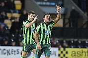 Andy Barcham of AFC Wimbledon makes it two during the Sky Bet League 2 match between Notts County and AFC Wimbledon at Meadow Lane, Nottingham, England on 23 January 2016. Photo by Stuart Butcher.