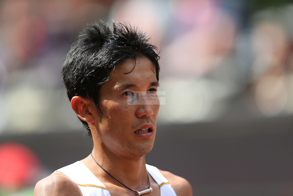 Arata Fujiwara of Japan finishes the men's marathon during day 16 of the London Olympic Games in London, England, United Kingdom on August 12, 2012..(Jed Jacobsohn/for The New York Times)..