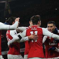 Arsenal celebrate Alexis' goal during Arsenal vs Huddersfield, Premier League, 29.11.17 (c) Harriet Lander | SportPix.org.uk
