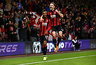 Joshua King of Bournemouth celebrates scoring with Marc Pugh (R)  during the Carabao Cup match between AFC Bournemouth and Brighton and Hove Albion at the Vitality Stadium in Bournemouth. 19 Sep 2017