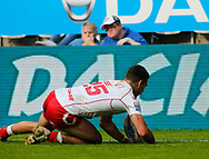 Kieren Moss of Hull Kingston Rovers scores the try against Hull FC  during the Betfred Super League match at the Dacia Magic Weekend, St. James's Park, Newcastle<br /> Picture by Stephen Gaunt/Focus Images Ltd +447904 833202<br /> 20/05/2018