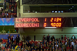 LIVERPOOL, ENGLAND - Wednesday, September 16, 2009: The Anfield scoreboard records Liverpool's 1-0 victory over Debreceni during the UEFA Champions League Group E match at Anfield. (Photo by David Rawcliffe/Propaganda)
