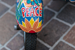 17.06.2017, Stadtplatz, Zell am See, AUT, Vespa Alp Days, im Bild Detailansicht einer Vespa mit den Schriftzug Peace // Detail of a Vespa with the letters peace during the annual Vespa Alp Days at the Marketplace, Zell am See, Austria on 2017/06/17. EXPA Pictures © 2017, PhotoCredit: EXPA/ JFK