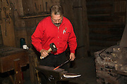Arkansas, AR, USA, Old Washington State Park, Civil War Weekend Old style blacksmith in his workshop