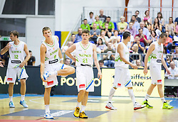 Zoran Dragic of Slovenia, Edo Muric of Slovenia, Aleksej Nikolic of Slovenia, Jure Balazic of Slovenia and Uros Slokar of Slovenia during friendly basketball match between National teams of Slovenia and Ukraine at day 3 of Adecco Cup 2014, on July 26, 2014 in Rogaska Slatina, Slovenia. Photo by Vid Ponikvar / Sportida.com