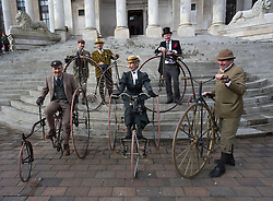 Members of the Pickwick Bicycle club attend he UK's first statue of Charles Dickens  which was unveiled in Portsmouth,Hampshire,UK Friday, 7th February 2014. Picture by i-Images