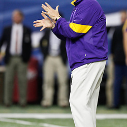 Dec 3, 2011; Atlanta, GA, USA; LSU Tigers head coach Les Miles prior to kickoff of a game Georgia Bulldogs during the 2011 SEC championship game at the Georgia Dome.  Mandatory Credit: Derick E. Hingle-US PRESSWIRE