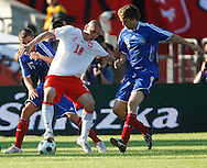 CHORZOW 01/06/2008.POLAND v DENMARK.INTERNATIONAL FRIENDLY.POLAND'S MARIUSZ LEWANDOWSKI /C/ , THOMAS KRISTENSEN /L/ AND MORTEN NORDSTRAND /R/ OF DENMARK ..FOT. PIOTR HAWALEJ / WROFOTO