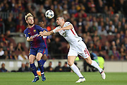 IVAN RAKITIC of FC Barcelona duels for the ball with EDIN DZEKO of AS Roma during the UEFA Champions League, quarter final, 1st leg football match between FC Barcelona and AS Roma on April 4, 2018 at Camp Nou stadium in Barcelona, Spain - Photo Manuel Blondeau / AOP Press / ProSportsImages / DPPI