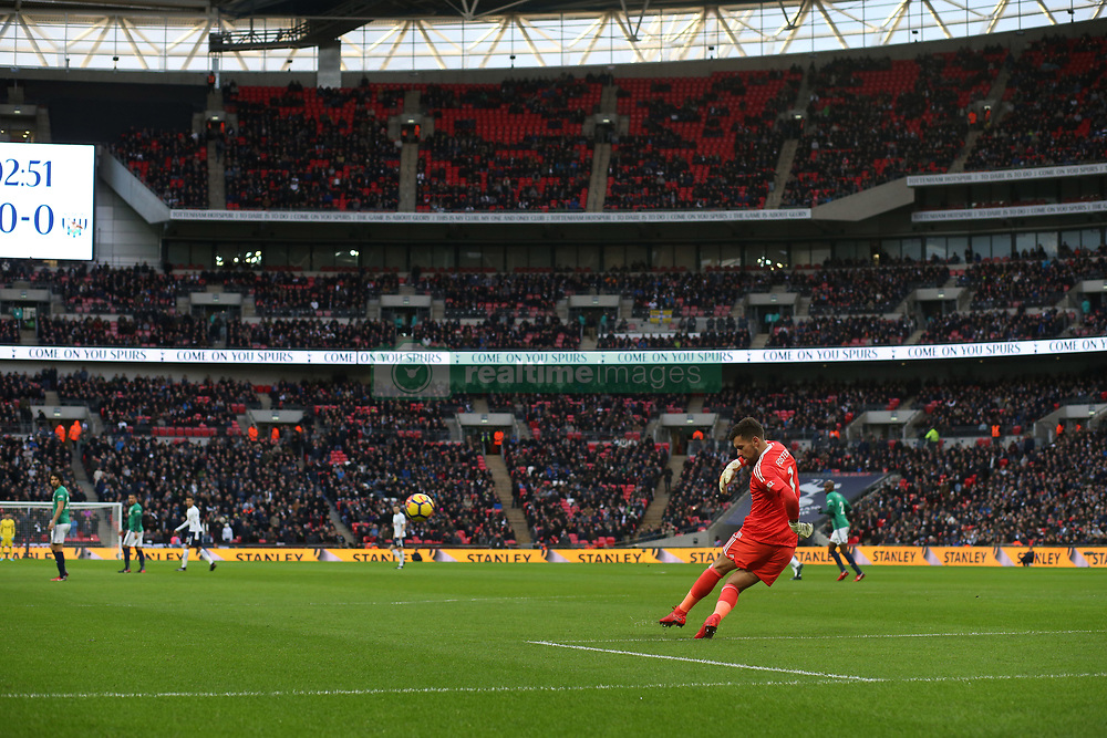 25 November 2017 Wembley : Premier League Football : Tottenham Hotspur v West Bromwich Albion - a general view of Wembley as Albion goalkeeper Ben Foster takes a goal kick.<br /> (photo by Mark Leech)