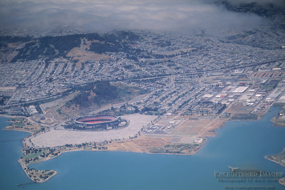Aerial of Candlestick Park and Candlestick Point on the edge of the San Francisco Bay, California