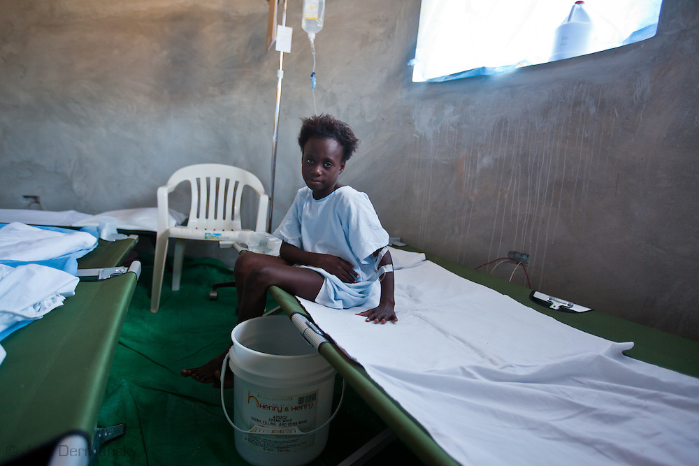 Solancia Celestin, 11 recovers from Cholera at the Real Hope for Haiti  Cholera Clinic in Cazel. The Cholera clinic is 11 kilometers off the main road passing through Cabaret, north of Port-au-Prince  and is run by American missionaries.
