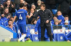 Chelsea manager Antonio Conte embraces Cesc Fabregas of Chelsea - Mandatory by-line: Alex James/JMP - 02/12/2017 - FOOTBALL - Stamford Bridge - London, England - Chelsea v Newcastle United - Premier League