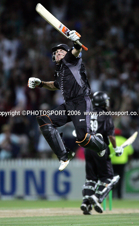 New Zealand batsman Brendon McCullum celebrates hitting the winning runs as New Zealand won the match by 1 wicket chasing Australia's 346 during the 3rd Chappell Hadlee one day match at Seddon Park, Hamilton, New Zealand on Tuesday 20 February 2007. New Zealand won the series 3-0. Photo: Andrew Cornaga/PHOTOSPORT<br />