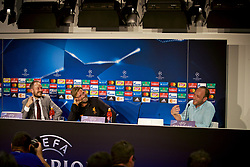 SINSHEIM, GERMANY - Monday, August 14, 2017: Liverpool's manager Jürgen Klopp jokes with the translator during a press conference ahead of the UEFA Champions League Play-Off 1st Leg match against TSG 1899 Hoffenheim at the Rhein-Neckar-Arena. (Pic by David Rawcliffe/Propaganda)