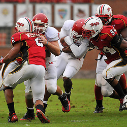 Sep 26, 2009; College Park, MD, USA; Rutgers FB Jack Corcoran (19) blocks Maryland defensive back Anthony Wiseman (6) during the first half of Rutgers' 34-13 victory over Maryland in NCAA college football at Byrd Stadium.