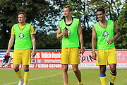 AFC Wimbledon midfielder Dean Parrett (18), AFC Wimbledon defender Paul Robinson (6), AFC Wimbledon striker Lyle Taylor (33) during the Pre-Season Friendly match between Margate and AFC Wimbledon at Hartsdown Park, Margate, United Kingdom on 16 July 2016. Photo by Stuart Butcher.