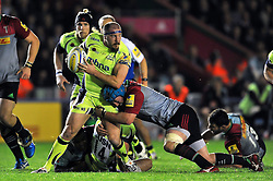 Neil Briggs of Sale Sharks takes on the Harlequins defence - Mandatory byline: Patrick Khachfe/JMP - 07966 386802 - 06/11/2015 - RUGBY UNION - The Twickenham Stoop - London, England - Harlequins v Sale Sharks - Aviva Premiership.