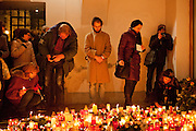 """Havel was a Czech playwright, essayist, poet, dissident and politician. After the announcement of his death spontaneously thousands of people People are meeting on """"Narodni"""" street at the """"Velvet Revolution Memorial"""" and other places in Prague to commemorate the death of former Czech President Vaclav Havel with flowers and candles."""