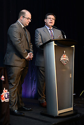 Sebastien Goulet from TVA and Rob Faulds from Sportsnet co-hosted the 2015-16 CHL Awards Dinner held on Saturday May 28, 2016 at the Sheridan Red Deer Hotel. Photo by Terry Wilson / CHL Images.
