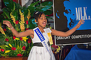 Chrystyna Haywood of Bruce Elementary School performs during the Martin Luther King, Jr. Oratory Competition at Antioch Missionary Baptist Church, January 17, 2014.