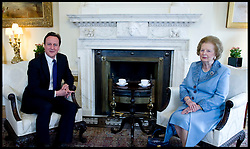 British Prime Minister David Cameron talks to former Prime Minister Baroness Thatcher inside Number 10 Downing Street, Tuesday June 8, 2010. Photo By Andrew Parsons / i-Images.