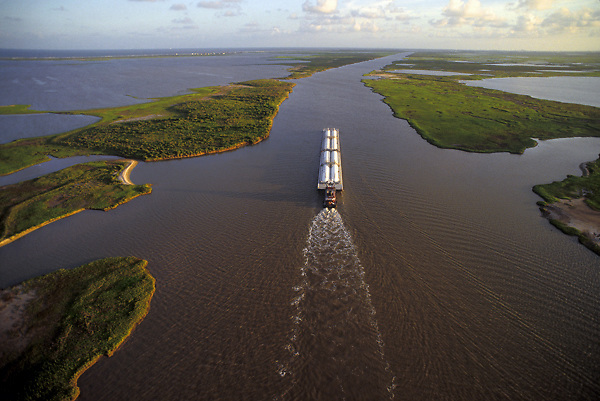 Aerial of a barge on the Intercoastal Waterway near the Port of Houston