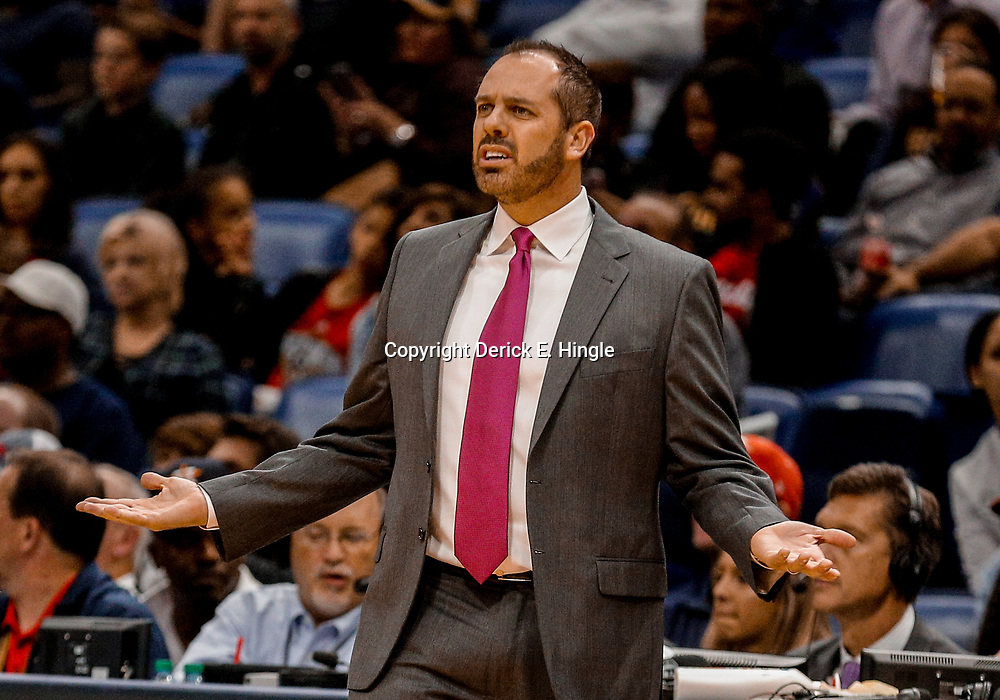 Oct 30, 2017; New Orleans, LA, USA; Orlando Magic head coach Frank Vogel against the New Orleans Pelicans during the second half of a game at the Smoothie King Center. The Magic defeated the Pelican 115-99. Mandatory Credit: Derick E. Hingle-USA TODAY Sports