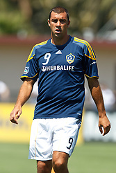 August 21, 2010; Santa Clara, CA, USA;  Los Angeles Galaxy midfielder Jovan Kirovski (9) warms up before the game against the San Jose Earthquakes at Buck Shaw Stadium. San Jose defeated Los Angeles 1-0.